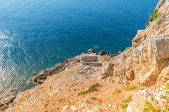 Aegean Sea, Skiathos, Greece. landscape. Azure waters of the aegean sea on the island of Skiathos, Greece. Rocky shores royalty free stock photo
