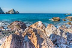 Aegean Sea, Skiathos, Greece. landscape. Azure waters of the aegean sea on the island of Skiathos, Greece. Rocky shores royalty free stock photo