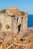Kastro ruins, Skiathos, Greece. landscape. Azure waters of the aegean sea on the island of Skiathos, Greece. Rocky shores stock photography