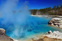 Azure Waters of Excelsior Geyser at Midway Geyser Basin, Yellowstone, Wyoming royalty free stock photography