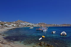 The Azure Waters in Mykonos, Greece. The Idyllic Azure Waters in Mykonos, Greece royalty free stock image