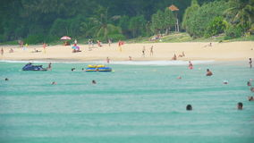 Azure waves rolled on the sand of Karon Beach. Waves rolled on the sand of Karon Beach, Phuket, Thailand stock footage