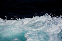 Azure and white boat wake seafoam Royalty Free Stock Photos