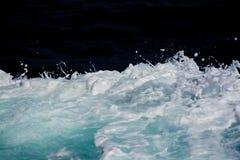 Azure and white boat wake seafoam Royalty Free Stock Photos