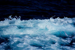 Azure and white boat wake seafoam Royalty Free Stock Photo