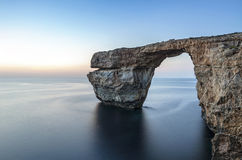 The Azure Window. The famous Azure Window in Gozo is a World Heritage Site in danger of immediate collapse.  In fact a large chunk of rock on the left side fell Stock Photography