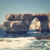 Azure Window. A stone arch on Gozo island, Malta with retro effect Stock Image