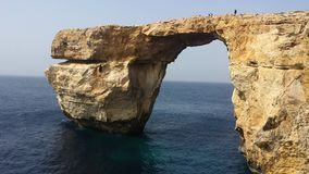 Azure Window Malta. Azure Window, famous stone arch of Gozo island before the fall Royalty Free Stock Photos