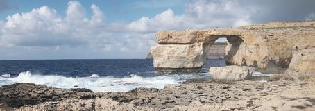 Azure Window, famous stone arch on Gozo island, Malta Stock Photos