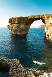 Azure Window, famous stone arch of Gozo island in the sun in summer, Malta Stock Image