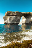 Azure Window, famous stone arch of Gozo island in the sun in summer, Malta Royalty Free Stock Images
