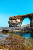 Azure Window, famous stone arch of Gozo island in Royalty Free Stock Photos