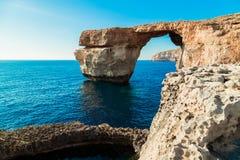 Azure Window, famous stone arch of Gozo island in Stock Photo