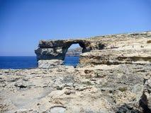 Azure Window. Famous stone arch of Gozo island in the sun in summer, Malta Stock Photos