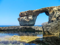 Azure Window. Famous stone arch of Gozo island in the sun in summer, Malta Stock Images