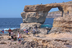 Azure window Gozo with crowds Royalty Free Stock Image
