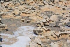 Azure Window on Gozo Island. Gozo Island - the limestone rocks with salt crystals Royalty Free Stock Photos