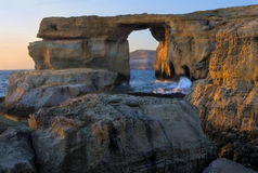 Azure Window, Gozo island, Malta. Azure Window, a natural hole in the rocky cliffs of Gozo island, Malta Stock Photography