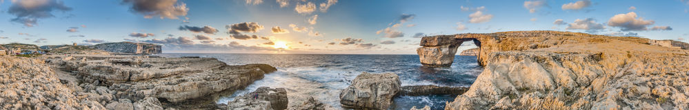 Azure Window in Gozo Island, Malta. Azure Window natural arch featuring a table-like rock over the sea in the Maltese island of Gozo Stock Image