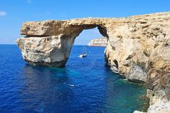 The Azure Window on Gozo island in Malta. The Azure Window the way it looked before it collapsed into the sea Royalty Free Stock Image