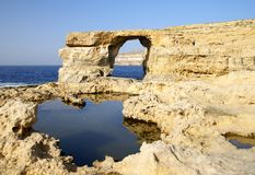 The Azure Window in Gozo Island Stock Photos