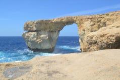 Azure Window on Gozo Island. Gozo Island - stormy seas near the Azure Window Royalty Free Stock Photography