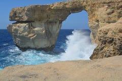 Azure Window on Gozo Island. Gozo Island - stormy seas near the Azure Window with huge wave Stock Photo