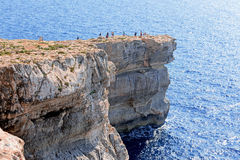 Azure Window in Gozo island with tourists Stock Photos