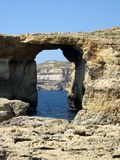Azure Window, Gozo (Malta). The rock formation known as The Azure Window on the rugged coastline of the island of Gozo in Malta stock images
