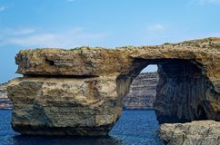 Azure Window on Gozo, Malta. Azure Window on the island Gozo, Malta. Azure window is a rock formation what was destroyed in 2017 during a storm Royalty Free Stock Photo