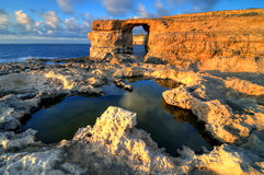 Azure window on Gozo, Malta islands HDR. A panoramic view of rock formation known as Azure window on Gozo Stock Image