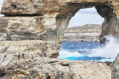 Azure window in Gozo. Azure window of rock in Gozo in Malta Stock Photos