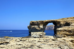 Azure window on the island of Gozo, Malta. Royalty Free Stock Image