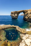 Azure Window - Island of Gozo, Malta. The Azure Window Maltese: Tieqa Żerqa is a limestone natural arch on the Maltese island of Gozo. It is situated near Royalty Free Stock Image