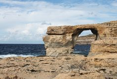 The Azure Window. Is a large rock arch located at Dwejra Gozo Royalty Free Stock Photo