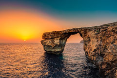 Azure Window, Malta. The Azure Window in Malta at Sunset Royalty Free Stock Photography