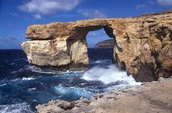 Azure window Malta. Gozo (Malta) view on seaside, rock called azure window Royalty Free Stock Image