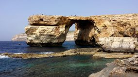 Azure Window Malta. Azure Window, famous stone arch of Gozo island before the fall Stock Photos