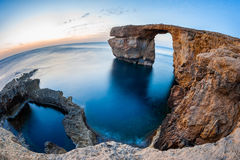 Azure Window Malta. Fisheye View of the Azure Window, a natural arched rock in Dwejra, Gozo, Malta Stock Photo