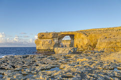 Azure Window, Malta before sunset. Azure Window in Dwejra, island Gozo, Malta Royalty Free Stock Images