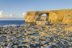 Azure Window, Malta before sunset. Azure Window in Dwejra, island Gozo, Malta Stock Images