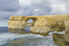 Azure Window, Malta before sunset. Azure Window in Dwejra, island Gozo, Malta Royalty Free Stock Photo