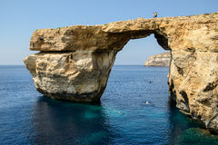Azure Window. The Azure Window in Malta surrounded by clear blue water Stock Images