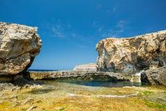Azure window missing, Gozo, Malta Royalty Free Stock Photos