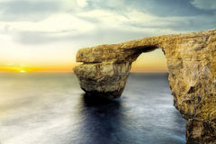 Azure window the most popular tourist attraction. The mighty nat. Ural arch over the sea stock photography