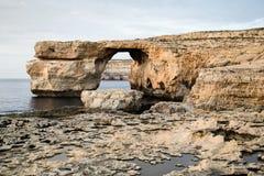 Azure Window na ilha de Gozo, Malta Fotografia de Stock