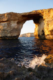 Azure window - rock formation over sea. On Gozo, Malta Stock Photos