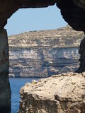 Azure Window silhouette in Gozo (Malta) Royalty Free Stock Photos