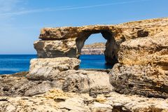 Azure Window, stone arch of Gozo, Malta Royalty Free Stock Photos