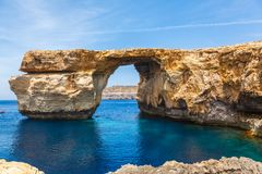 Azure Window, stone arch of Gozo, Malta. Azure Window, famous stone arch of Gozo island in the sun in summer, Malta Royalty Free Stock Image